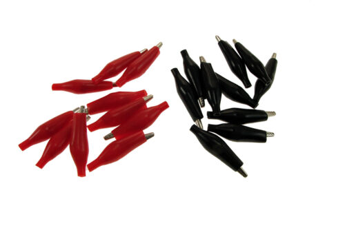 20 Pack 35mm Alligator Clips Test Probe Battery Clamp Black /& Red  ABS201