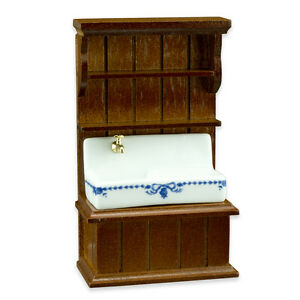 Reutter Porzellan Kitchen Sink Blue / Blue Sink Cabinet 1:24 Dollhouse