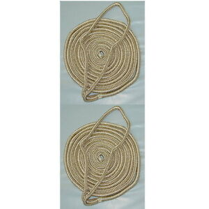 2-Pack-of-3-8-Inch-x-6-Ft-Gold-amp-White-Double-Braid-Nylon-Fender-Lines-for-Boats