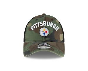 8e490afc Image is loading Pittsburgh-Steelers-New-Era-Rugged-Stack-Camo-Trucker-