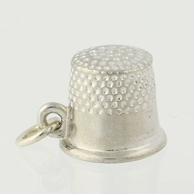 Sewing Thimble Charm 925 Sterling Silver Pendant 3d Crafts Hobby Seamstress