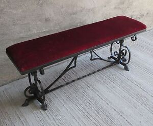 Details About Antique Steel Ornate Wrought Iron 48 Bench W Padded Velvet Cushion Seat