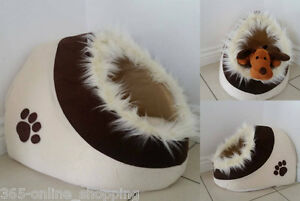Luxury Soft Warm Cotton Igloo Pet Bed with Fur Trim For Dog/Puppy/Cat/Kitten New