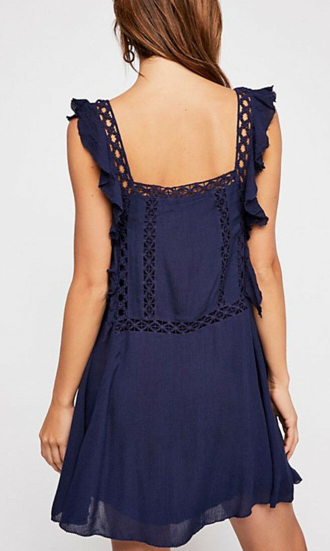 Free Free Free People F17Y06106 Priscilla Ruffled Crochet Trim Dress in Navy 5a3202