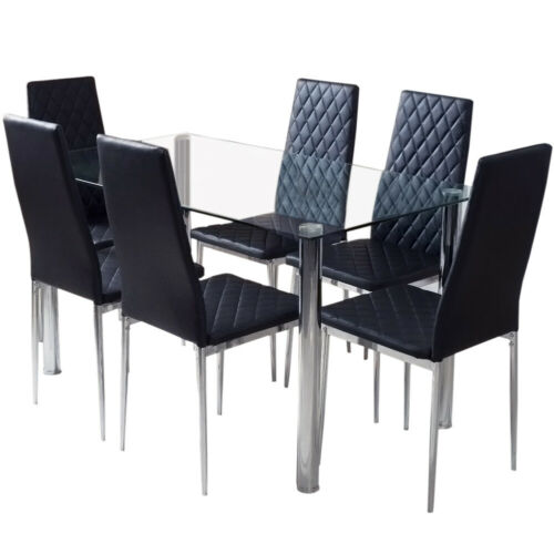 2/4/6 Dining Chairs Set High Back Faux Leather Padded Chairs Chrome Leg Kitchen