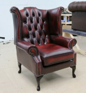Georgische-Chesterfield-Queen-Anne-High-Back-Wing-Chair-Vintage-rot-Leder