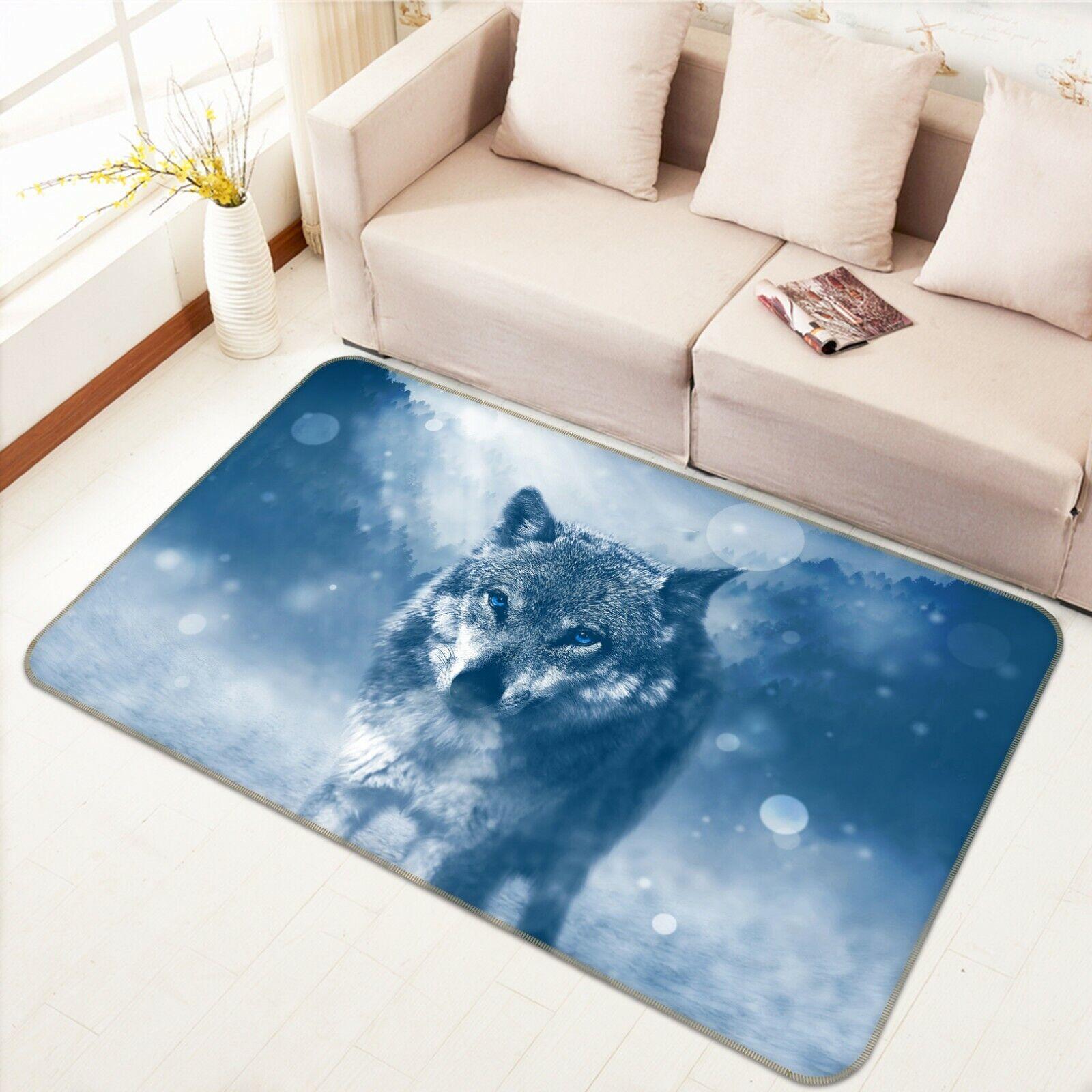 3D Woods Night Wolf C325 Animal Non Slip Rug Mat Elegant Photo Carpet Zoe