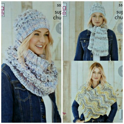 KNITTING PATTERN Ladies Easy Lace Hat Cowl Wrap /&Easy Hat Scarf SuperChunky 5577