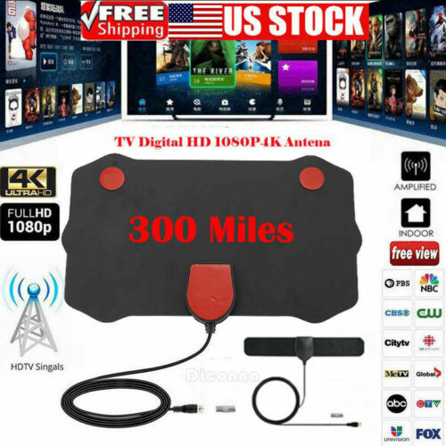 Flat HD Digital Indoor Amplified TV Antenna HDTV with Amplifier 350 Mile VHF//UHF