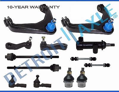 13pc Front Upper Control Arm Sway Bar Links Tierod Idler 3-Groove Pitman 8-Lugs