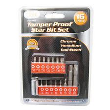 16 Pc Security Tamper Proof 6 Point Star Bit Set Torx Socket Tamperproof Tool !!