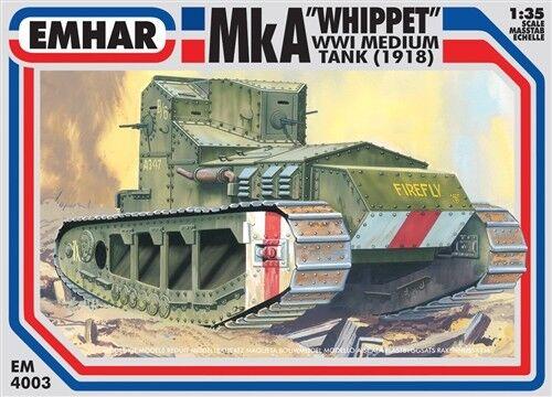 Emhar Em 4003 Mka Whippet Wwl Medium Tank (1918) PLASTIQUE Kit 1 35 Scale T48