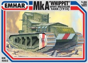 EMHAR-EM-4003-MkA-Whippet-WWl-Medium-Tank-1918-Plastic-Kit-1-35-Scale-T48-Post