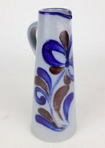 German-Hand-Painted-Blue-Flower-Salt-Glaze-Stoneware-Cruet-Pitcher-7-5-034-Tall