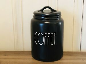 Rae-Dunn-Artisan-Collection-By-Magenta-2020-COFFEE-LL-Large-Black-Canister-HTF