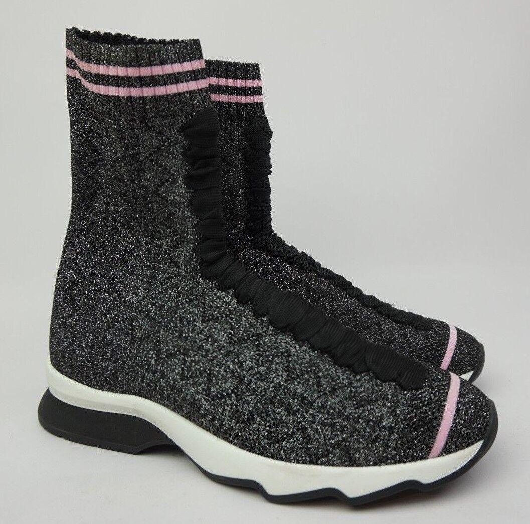 Fendi rockoko rockoko rockoko High Top Calcetín Zapatilla De Deporte rosado para Mujer Negro Brillo Zapatos Talla 36.5  oferta de tienda