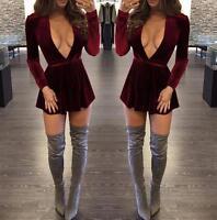Women Velvet Deep V-Neck Plunge Bodycon Ladies Xmas Party Mini Evening Dress New