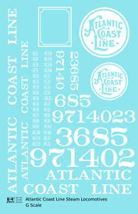 K4 G 1:24 Decals Atlantic Coast Line ACL Steam Locomotive White