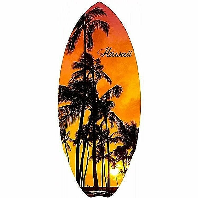 Nuovo Hawaiano Mini Tavola Du Surf in Legno Hawaii Isola Al Tramonto Spiaggia