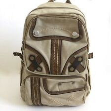 Military Style Canvas Backpack Khaki Beige Leather Trim Padded Adjustable Strap