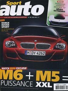 SPORT AUTO n°520 de Mai 2005 BMW M5 M6 RANGE ROVER SPORT - France - État : Trs bon état : Livre qui ne semble pas neuf, ayant déj été lu, mais qui est toujours en excellent état. La couverture ne présente aucun dommage apparent. Pour les couvertures rigides, la jaquette (si applicable) est incluse. Aucune  - France