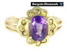 amethyst + golden yellow sapphires 5.06 carats 14K gold ring birthstone