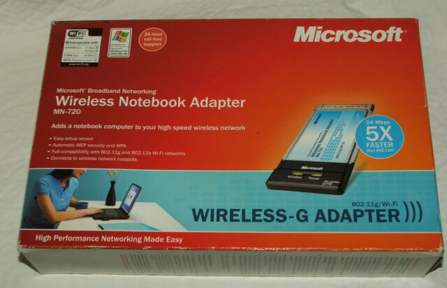 Microsoft wireless g notebook adapter mn-720 broadband.
