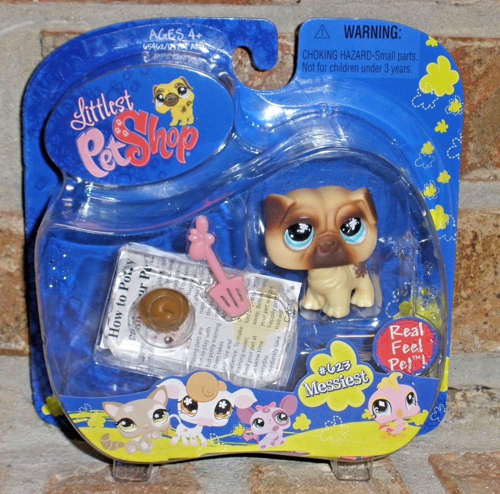 Littlest Pet Pet Pet Shop Messiest PUG 623 real feel pet RARE & VHTF 2007 1eac91