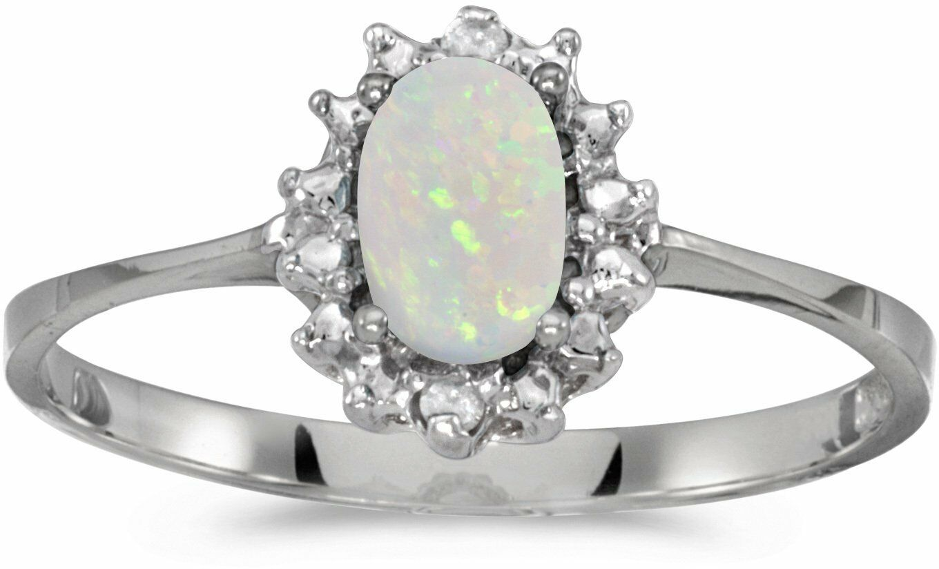 10k White gold Oval Opal And Diamond Ring (CM-RM1342W-10)