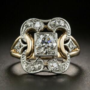 Luxe-Bicolore-Argent-925-Anneaux-Femmes-Blanc-Saphir-Bague-de-mariage-Taille-6-10