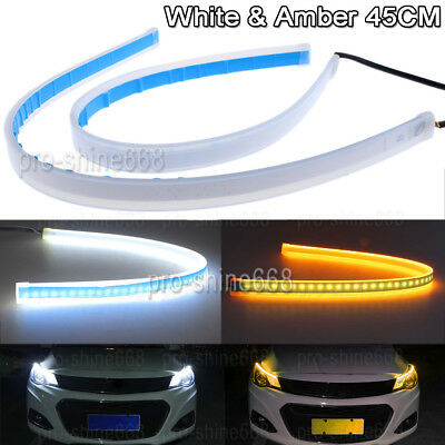 2x45cm Switchback LED Strip Lights DRL Xenon White/& Amber for Headlight Retrofit