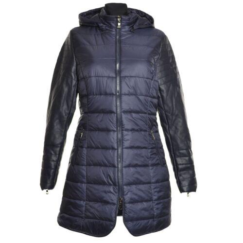 Wintermantel Daunen Winter Jacke Mantel Blau Schwarz Kapuze Leder 40 42 44 46 48