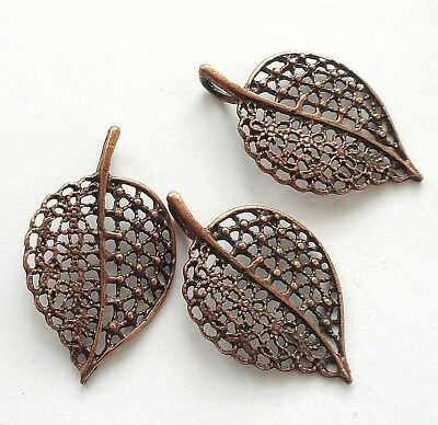 """3pcs-1.5/""""  red Copper  filigree leaf charm pendant"""