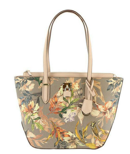 Nine West Women/'s Violetta Tote Handbag Purse Large Floral Zip Top Multi-Colored