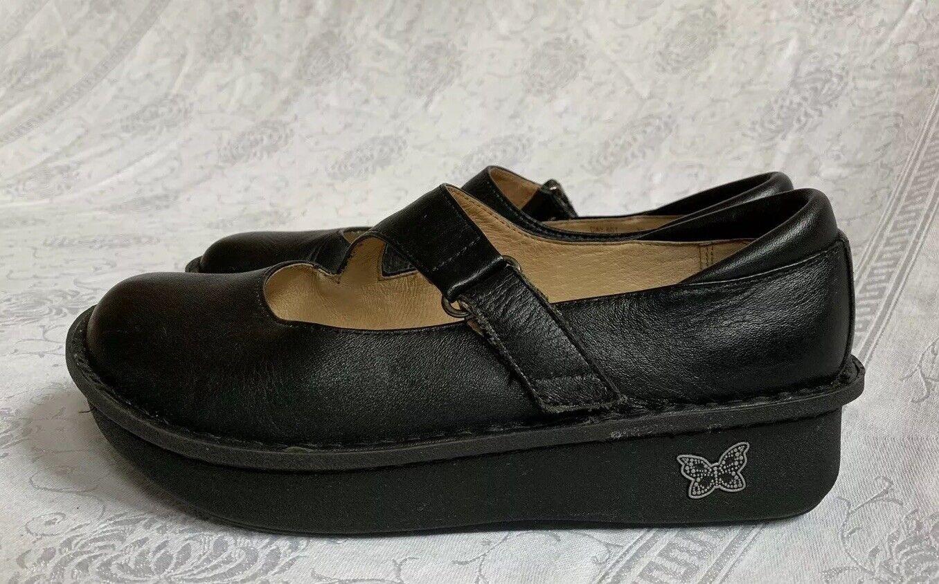 Alegria Dayna jour 601 en cuir noir Mary Janes Sabots Infirmier chaussures 38 US 8-8.5