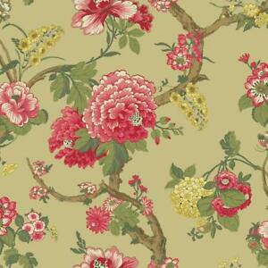 Wallpaper-Classic-Jacobean-Floral-in-Coral-Greens-and-Tan-on-Pearlized-Cream