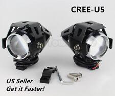 2* 125W 3000LM CREE U5 LED Motorcycle Driving Fog Lamp Spot light Headlight US