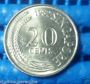 1982 Singapore 20 Cents Sword Fish Coin