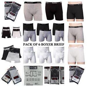 2ea54d53b6a6 6 Mens Underwear Boxer Briefs 100% Cotton Black Gray White Pair Lot ...