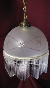 Antique Vintage Perles suspension Verre blanc Lampe Art Déco Français Laiton Lustre