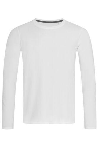 Mens Plain Long Sleeve GREY BLACK or WHITE Cotton Elastane Tee T-Shirt Tshirt