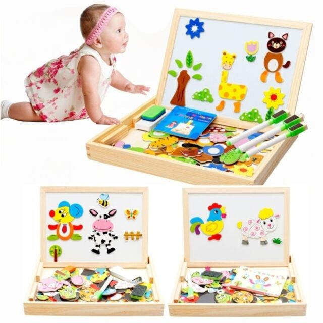 Educational Animals Wooden Magnetic Puzzle Toys Kids Jigsaw Baby Drawing Board