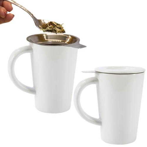 2pk 14oz Stainless Steel Loose Tea Infuser Mesh Strainer And Ceramic Coffee Mug