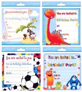 Birthday Invite Boys Party Invitations Cards 4 Designs With