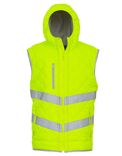 YOKO YK007 Hochsichtbare Warnschutz Padded Weste Warnweste Arbeitsweste Kapuze