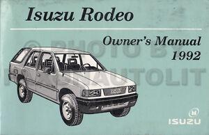 1992 isuzu rodeo owners manual original oem owner user guide book ebay rh ebay com 1996 isuzu trooper service manual pdf 1996 isuzu trooper service manual
