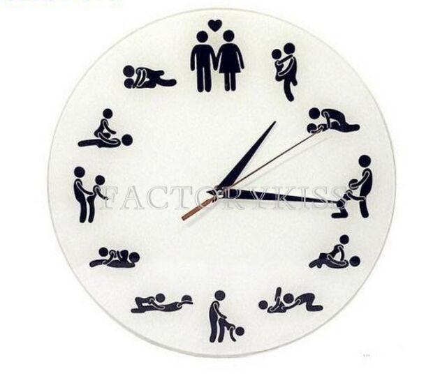 Creative 24 Hours Sex Clock Sex Position Wall Clock Adult Fun Clock IUK