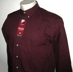 NEW IZOD MENS SHIRT Red White Black Plaid Long Sleeve XLT 3XL 3XLT 4XL 4XLT TALL