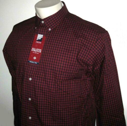 NEW IZOD MENS SHIRT Dark Red Navy Blue Long Sleeve XLT 2XLT 3XL 3XLT 4XL 4XLT