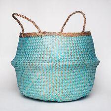 Handwoven Natural Seagrass Belly Basket - Blue Chevron Design